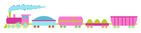 The locomotive and four cars, pink colors with decorative stitching on the loop