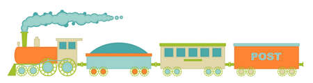 The locomotive and three cars, retro colors with decorative stitching on the loop