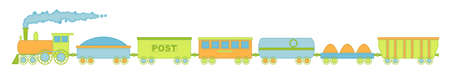 The locomotive and six cars, spring colors with decorative stitching on the loop