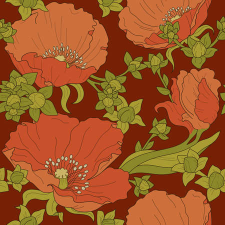 Seamless floral ornament with orange poppies and green buds on burgundy background