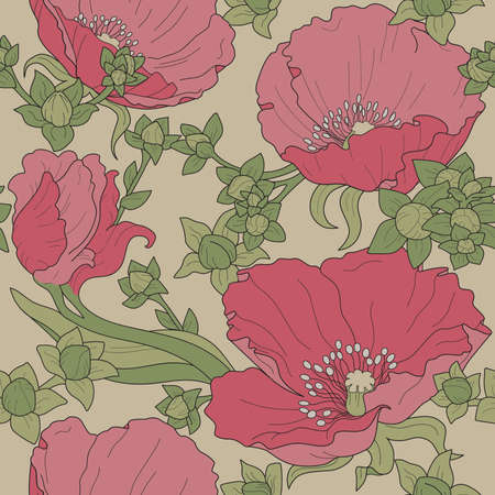 Seamless floral ornament with poppies and buds on beige background