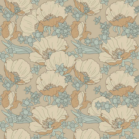 Seamless floral ornament with poppies and buds in cream, beige and celadon color on beige background