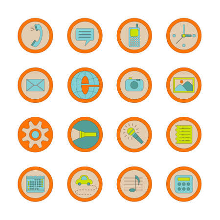 Vector set of 16 icons for your phone or tablet, each icon is grouped on a separate layer Illustration
