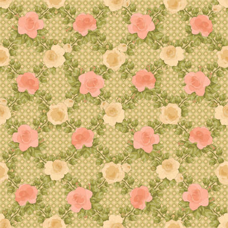 printable seamless floral pattern in salmons, pink, green and cream colors: repeated roses ornament on green and cream checked background 12x x12 inches 写真素材