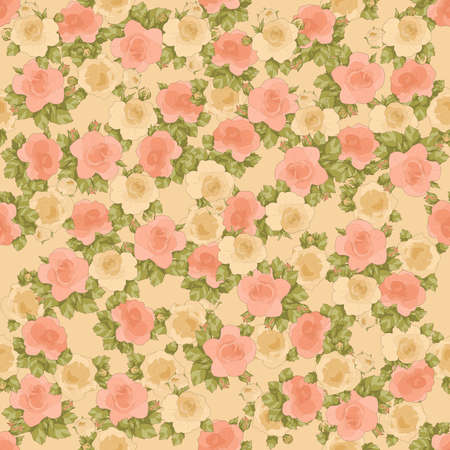 printable seamless floral pattern in salmons, green and cream colors: repeated roses 12x x12 inches