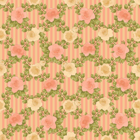 printable seamless floral pattern in salmons, green and cream colors: repeated roses pattern on pink and cream striped background 12x x12 inches