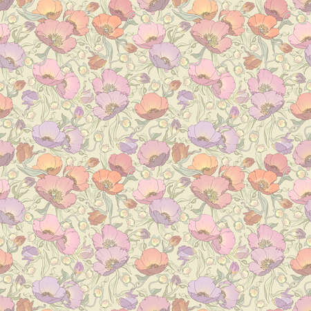 Gently printable seamless floral pattern in orange, pink, lilac and cream colors: repeated poppies 12x x12 inches