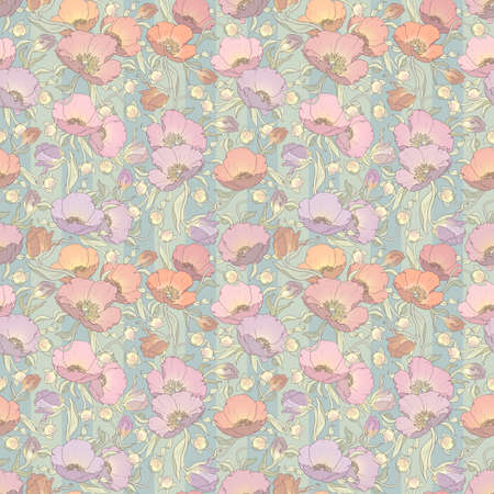 printable seamless floral pattern in orange, pink, lilac and purple colors: repeated poppies ornament on striped green-gray background 12x x12 inches
