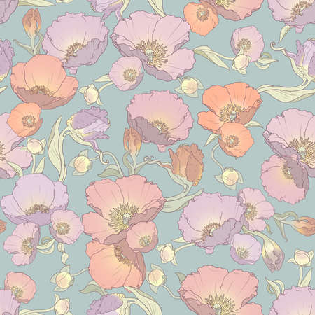 Gently printable seamless floral pattern in orange, pink, lilac and purple colors: repeated poppies ornament on green-gray background 12x x12 inches Imagens