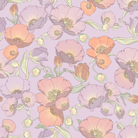 Gently printable seamless floral pattern in orange, pink, lilac and purple colors: repeated poppies ornament on lilac background 12x x12 inches