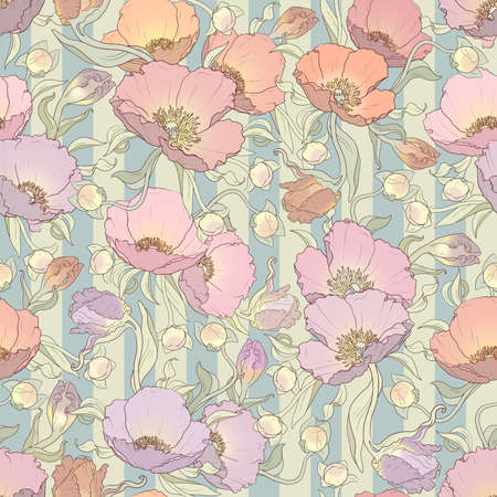printable seamless floral pattern in orange, pink, lilac and purple colors: repeated poppies ornament on striped turquoise and cream background 12x x12 inches