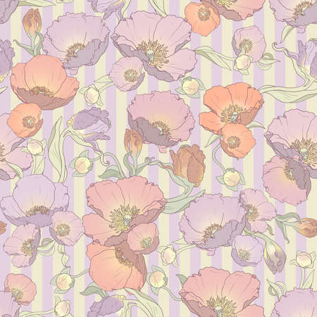 printable seamless floral pattern in orange, pink, lilac and purple colors: repeated poppies ornament on striped background 12x x12 inches