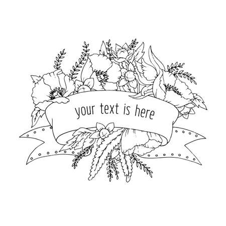 ribbon for your inscription with flowers: poppies, leaves, buds and branches in outline for coloring Ilustração