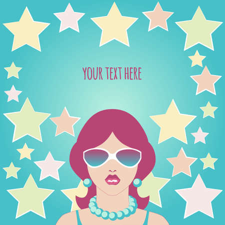 A serious girl with purple hair in sunglasses and beads on a turquoise background with yellow, pink and light star stars and a place for your text
