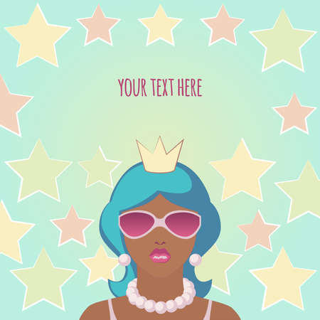 A tanned girl with blue hair in a crown, sunglasses and beads on a turquoise background with yellow, pink and light green stars and a place for your text