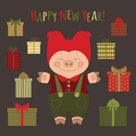 Vector image of a pig in a suit with a lot of gifts in multi-colored boxes with knotted bows and an inscription in multicolored letters Happy New Year!
