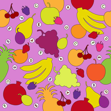 Seamless pattern with multicolored fruit silhouettes