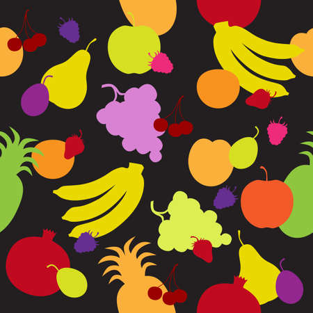 Seamless pattern with multicolored fruit silhouettes in the black background