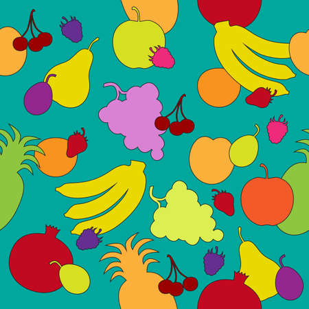 Seamless pattern with multicolored fruit silhouettes in the turquoise backdrop
