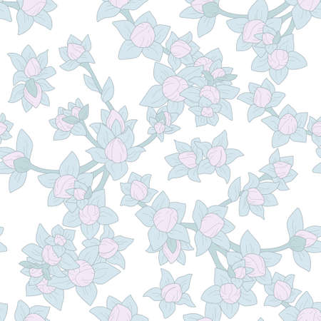 seamless floral pattern, repeating vegetal ornament, pink and green grey botanical background, with outline, good for printing on fabric, on wallpaper, for background, for digital use Ilustração