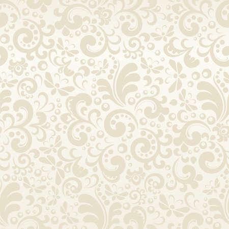 Modello astratto crema senza soluzione di continuità con elementi vegetali