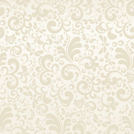 Seamless cream abstract pattern with plant elements