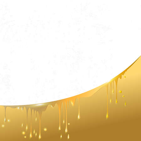 drops and smudges of liquid gold, paint, beer and honey, located in an arc, in the white textured square background for your text Illustration