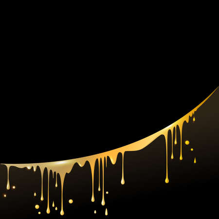 drops and smudges of liquid gold, paint, beer or honey, located in an arc, in the square black background for your text Illustration