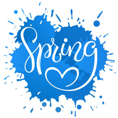 lettering Spring with heart, on the blue blots background