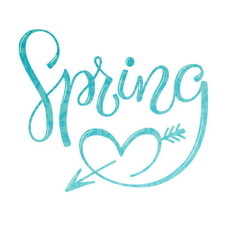 Vector illustration with inscription Spring, in hand writing style, lettering with heart, with leaves and texture, for meeting spring, spring holidays, printing on fabric or paper, and digital