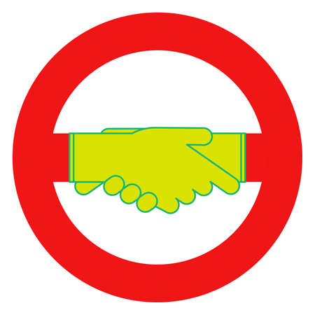 Red prohibition sign with a gloved handshake