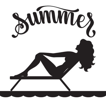 Black silhouette of long-haired girl in a swimsuit sunbathes in a deck chair  イラスト・ベクター素材