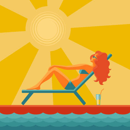 A long-haired girl in a swimsuit sunbathes in a deck chair with a glass of cocktail with a straw on the floor, against the background of yellow sun and sun rays, drawing in flat style