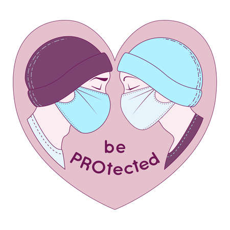 Heart with a guy and a girl in profile, in caps and medical protective masks Stock Illustratie