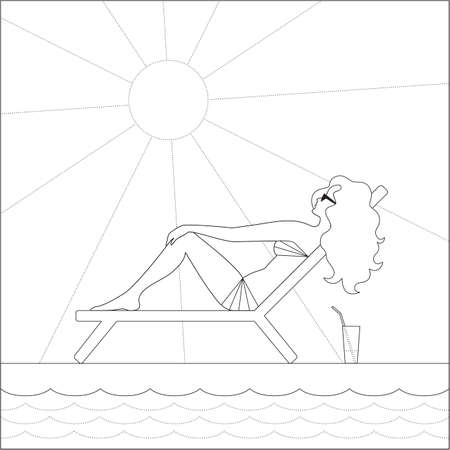 Black outline girl sunbathes in a deck chair