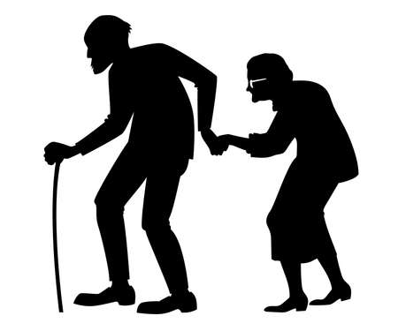 vector isolated black silhouette of a elderly couple with cane