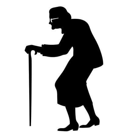 vector isolated black silhouette of an old woman with cane