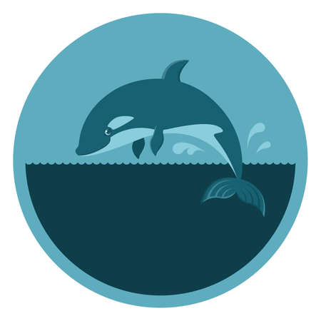 Vector round emblem with a killer whale