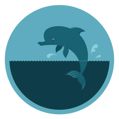 Vector round emblem with a dolphin