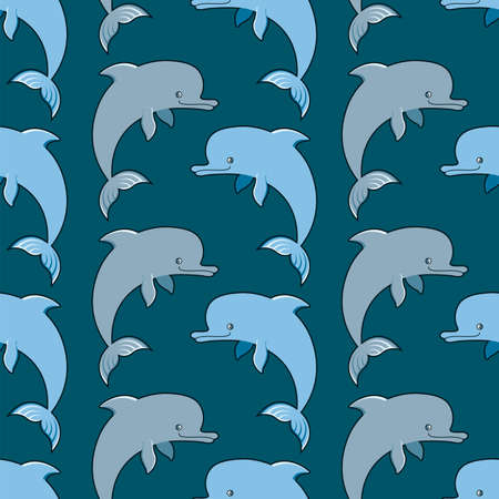 Vector seamless ornament with dolphins Çizim