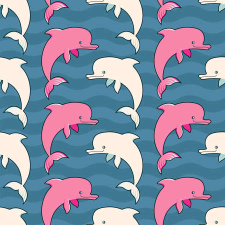 Vector seamless ornament with pink and cream dolphins Çizim