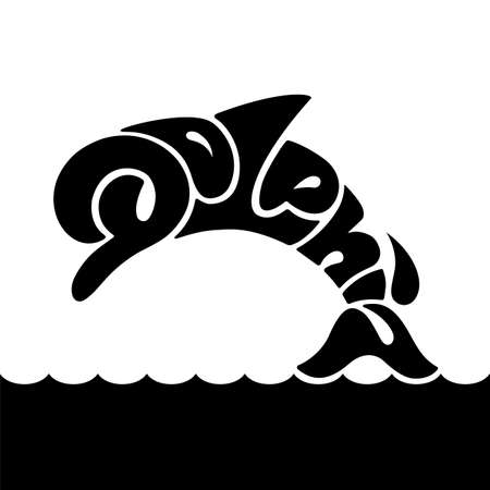 Vector with lettering in the silhouette of dolphin Vectores