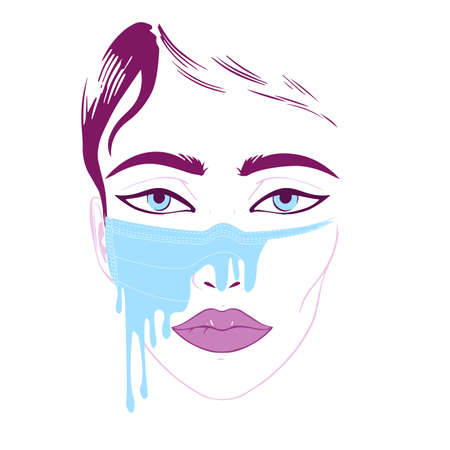 Vector colored sketch of a womans face with a painted medical mask Illustration
