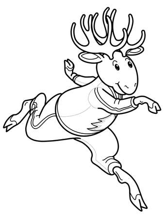 black outline Moose in sport wear, running Elk in tracksuit
