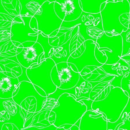 spinat: Nahtlose gr�ne Muster mit Kontur Gem�se. Kiwi. Spinat. Capsicum. Winter-Melone. Sultana Fr�chte. Chia Samen