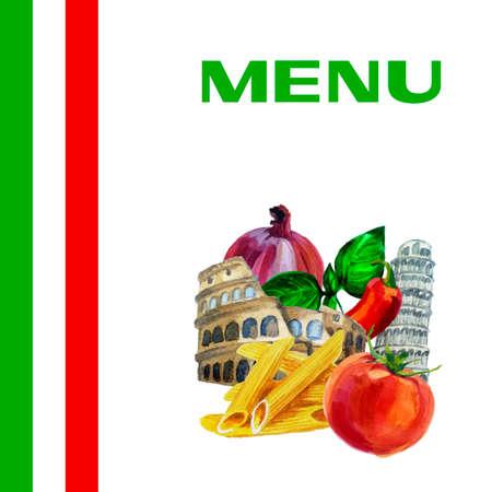 Italian cuisine restaurant menu design background with watercolor illustration