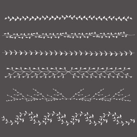 Hand getekende silhouetten grenst takken grafisch ontwerp elementen instellen. Nuttig voor bruiloft uitnodigingen, felicitaties en wenskaarten.