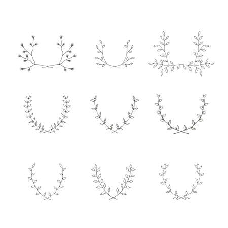 mariage: Hand-drawn branches brackets graphic design elements set. Useful for wedding invitations, congratulations and greeting cards. Illustration