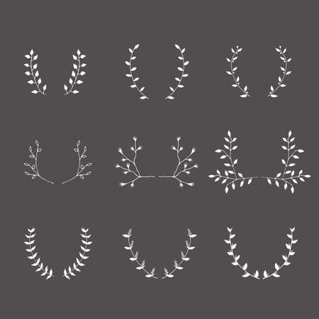 mariage: Hand-drawn silhouettes brackets branches graphic design elements set. Useful for wedding invitations, congratulations and greeting cards.