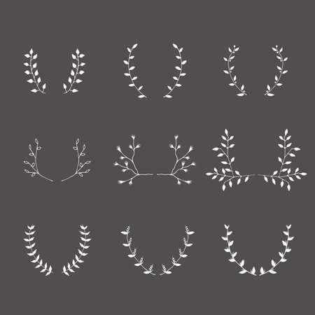 Met de hand getekende silhouetten beugels takken grafisch ontwerp elementen instellen. Nuttig voor bruiloft uitnodigingen, felicitaties en wenskaarten.